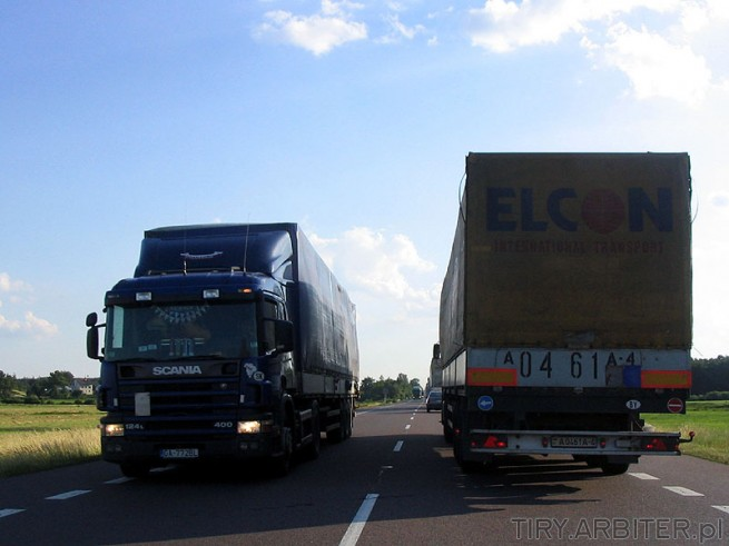 Mijanka TIR na trasie. ELCON International Transport i Scania 124L 400